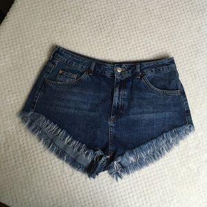 TOPSHOP MOTO Kiri High waisted cut off shorts